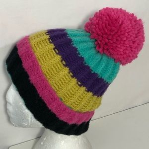 *Topshop Multi-Colored Striped PomPom Knit Beanie